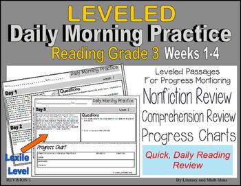 (Leveled) Daily Morning Practice (Reading Grade 3) Weeks 1-4