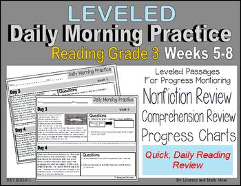 (Leveled) Daily Morning Practice (Reading Grade 3) Weeks 5-8