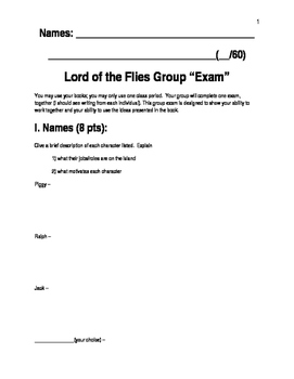 """Lord of the Flies"" Group Exam"