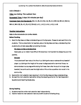 """""""Lou Gehrig: The Luckiest Man Alive"""" Basal Reader Lesson Plan"""