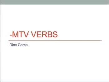 -MTV verb (dormir, partir, sortir, servir) dice game