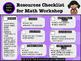 {Math Workshop} Resources List FREEBIE!