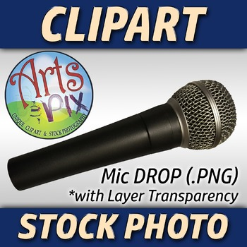 "! ""Mic Drop"" Clipart Stock Photo of a Microphone"