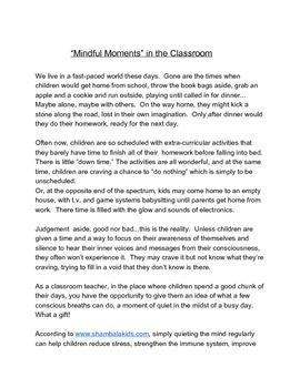 """""""Mindful Moments"""" in the Classroom"""