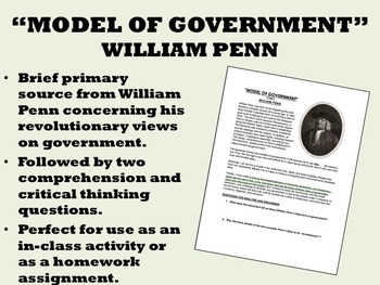 """Model of Government"" - William Penn - US History/APUSH"