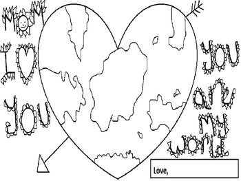 """""""Mom You are my world"""" Mother's day Coloring activity"""