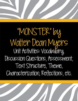 """""""Monster"""" By Walter Dean Myers Unit Activities"""