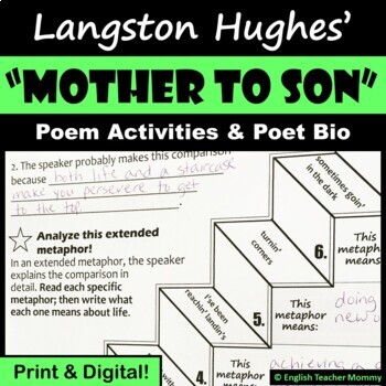 """""""Mother to Son"""" (Langston Hughes) Poem Activities"""