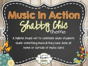 """""""Music In Action"""" Bulletin Board Set-Shabby Chic"""