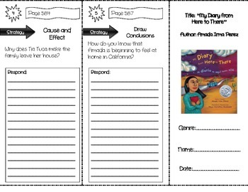 """""""My Diary from Here to There"""" Comprehension Trifold (Story"""