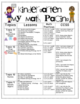 """""""My Math"""" Pacing Plan by Kinder league"""
