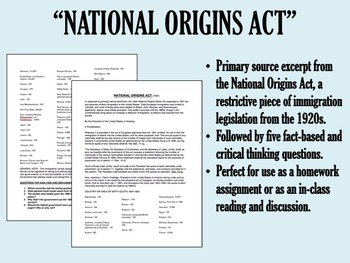 """National Origins Act"" - 1920s - Red Scare - Immigration - APUSH"