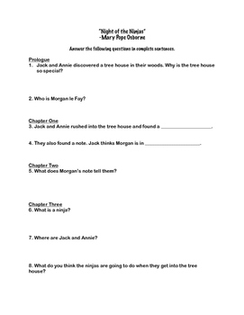 """Night of the Ninjas"" Comprehension Questions"