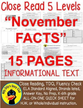 """""""November FACTS"""" Informational Text Close Read 5 level pas"""