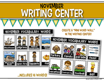 Mini Word Wall {November} for the Writing Center - Interactive!