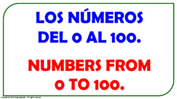 """""""Numbers from 0 to 100"""". Power Point Presentation with audio."""