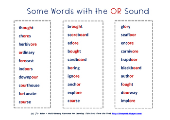 """Words with the """"OR"""" Sound: Middle Primary Phonics and Spel"""