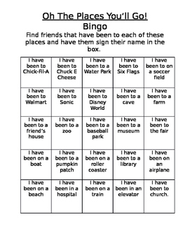 """Oh The Places You'll Go"" Bingo game"