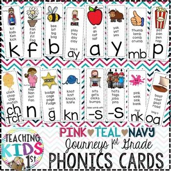{PINK, TEAL, NAVY} Journeys 1st Grade Phonics Cards