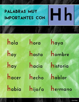 """""""Palabras Con H"""" Poster (Spanish)"""