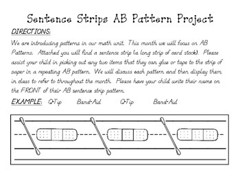 """""""Pattern Sentence Strips"""" - AB Pattern Activity for Home o"""