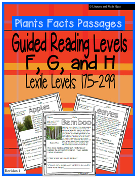 (Plants) Leveled Passages Guided Reading Levels F,G,H (Lex