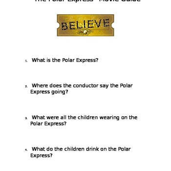 """""""Polar Express"""" Movie Guide Questions"""