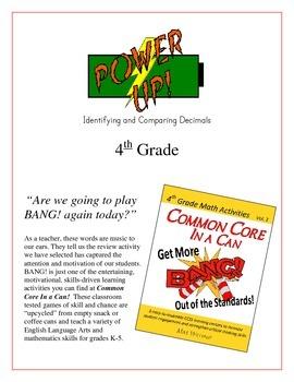 """Power Up!"" Identifying & Comparing Decimals 4th Grade Com"