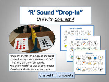 """'R' Sound """"Drop-In"""" Articulation Game (Use with Connect 4)"""
