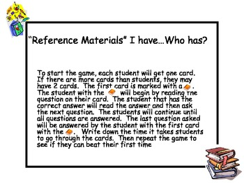 """ Reference Materials"" I have...Who has?"