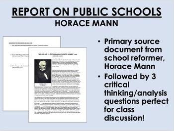 """Report on Public Schools"" (1848) - Horace Mann - US Histo"