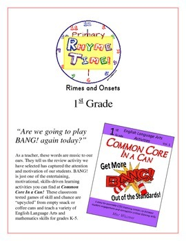 """Rhyme Time!"" 1st Grade Rimes and Onsets Common Core Game Packet"
