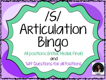 """""""S"""" Sound Articulation Bingo- Phoneme in All Positions wit"""