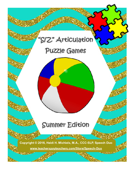 """""""S, Z"""" Articulation Puzzle Pack: Summer Theme"""