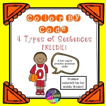 4 Types of Sentences Grammar Practice - Color By Code!