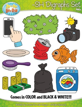 -SH Digraphs Words Clipart Set — Includes 20 Graphics!