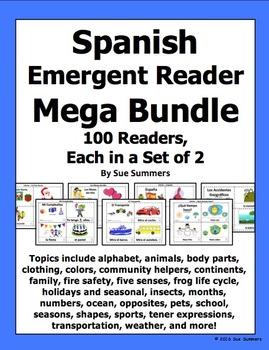Spanish Emergent Reader Mega Bundle - 100 Sets of 2 Booklets!