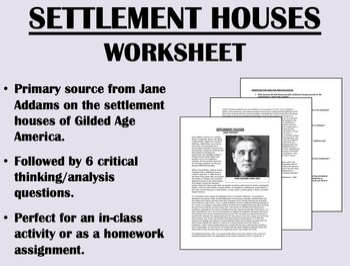 """Settlement Houses"" Jane Addams - USH/APUSH"