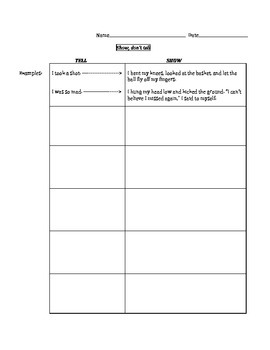 """Show, Don't Tell"" graphic organizer for writing revisions"