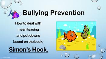 """Simon's Hook"" Mean Teasing Bullying Lesson w video PBIS C"
