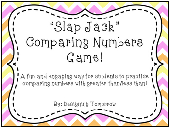 """""""Slap Jack"""" Comparing Numbers (Greater Than/Less Than) Math Game"""
