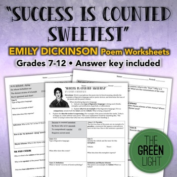 """Success is Counted Sweetest"" Emily Dickinson Poem Workshe"
