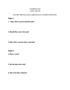 """""""Superfudge"""" Comprehension Questions"""