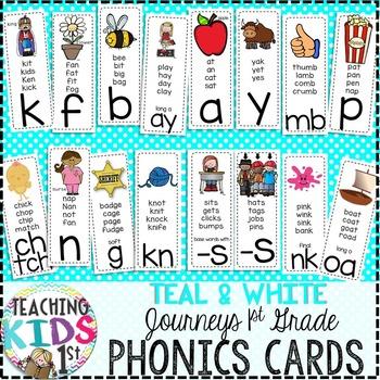{TEAL} Journeys 1st Grade Phonics Cards