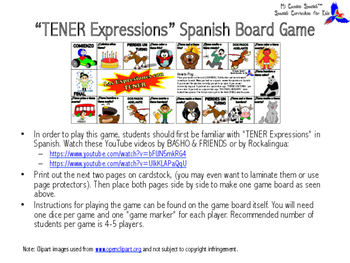 """""""TENER Expressions"""" Spanish Board Game"""