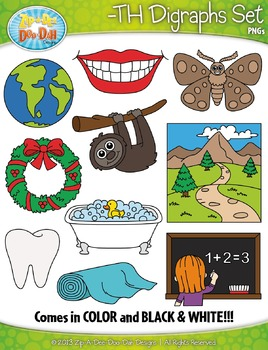 -TH Digraphs Words Clipart Set — Includes 20 Graphics!