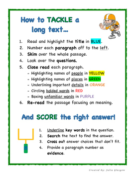 """""""Tackle the Text"""" A Fun Guide to Improve Reading Comprehension"""