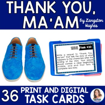 """""""Thank You, Ma'am"""" by Langston Hughes Task Cards with EDIT"""