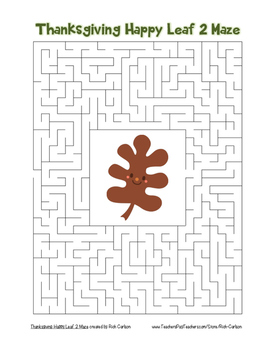 """""""Thanksgiving Happy Leaf 2"""" Maze! Holiday FUN! (Color and"""