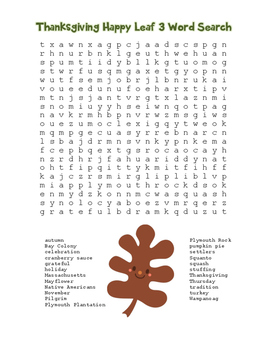 """Thanksgiving Happy Leaf 3"" Word Search!  Holiday FUN! (Co"